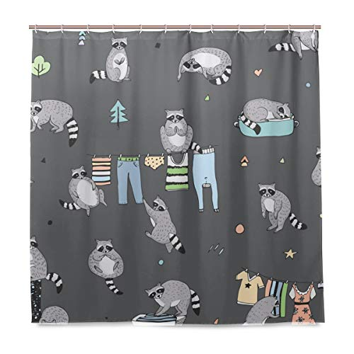 ALAZA Cute Raccoon Animal Doodle Shower Curtain Waterproof Polyester Bath Curtian with Hooks 72x72 Inch