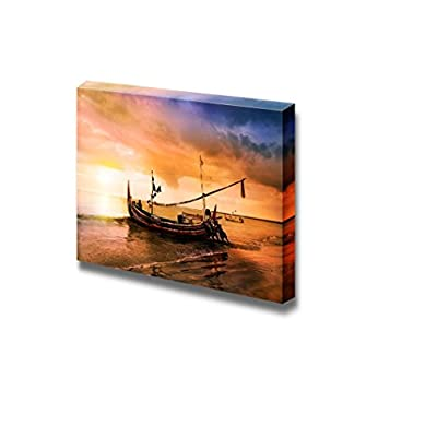 Canvas Prints Wall Art - Sailboat Being Pushed into Water at Sunset | Modern Wall Decor/Home Decoration Stretched Gallery Canvas Wrap Giclee Print. Ready to Hang - 16