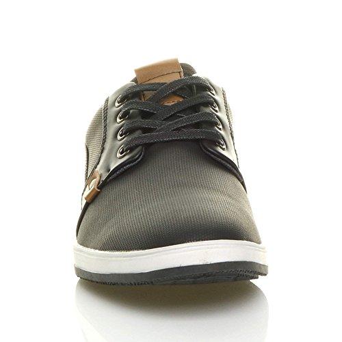 Mens Ajvani top Plimsolls Plimsoles Casual up Size Shoes Low Lace Black Flat Trainers Pumps Contrast wHqfrwd