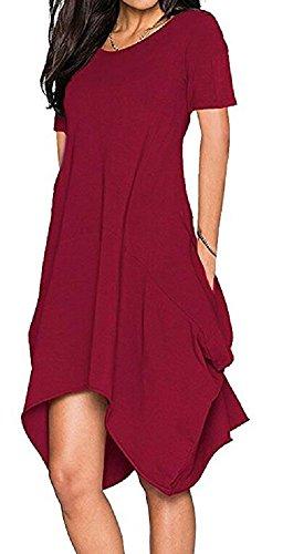 Women Short Sleeve Asymmetrical Loose Pockets Tunic T-Shirt Dress Wine Red XL
