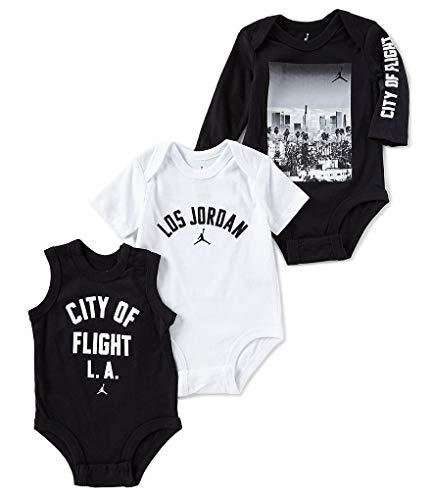 Nike Swoosh Three-Piece Infant Baby Bodysuit Set (6-9 Months, Black(554752-K25)/White) ()