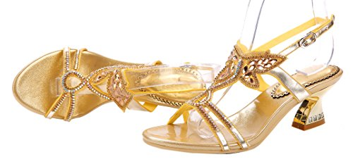 Heel Gold Sandals Women's Crystal Block Comfort Butterfly Honeystore wZaXq7x