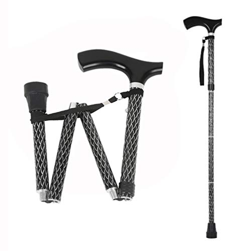 - Portable Collapsible Cane, LIXIANG, Perfect Traveling 5-Level Height Adjustable Fold-up Walking Stick with Carved Fish Scale Pattern Black