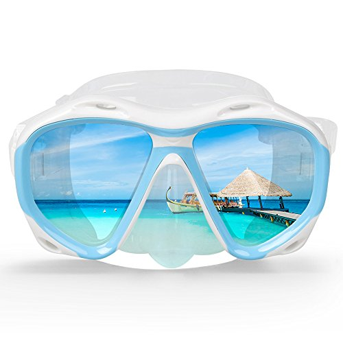 (COPOZZ Snorkel Mask, Snorkeling Scuba Dive Glasses, Free Diving Tempered Glass Goggles - Optional Dry Snorkel with Comfortable Mouthpiece (4260-Blue))