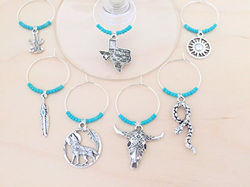 Texas Wine Charms: Southwestern Wine Glass Markers. Texas, Rattlesnake, Bull Skull, feather, cactus, tribal sun, coyote. Set of 8. ()