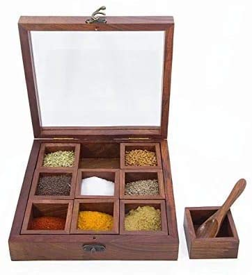 Crafts Idea Masala Box with Glass On Top & wooden Spoon/masala dabba/spice rack/spice box/Indian masala dabba/Spice container/Housewarming gift idea for men & women -