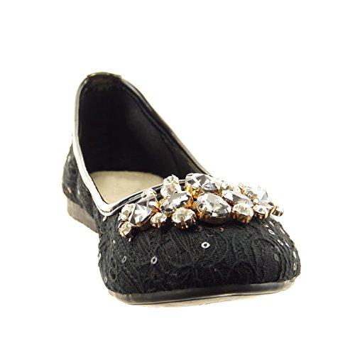 Sopily - Zapatillas de Moda Bailarinas slip-on Tobillo mujer encaje joyas Talón Tacón ancho 1 CM - Negro