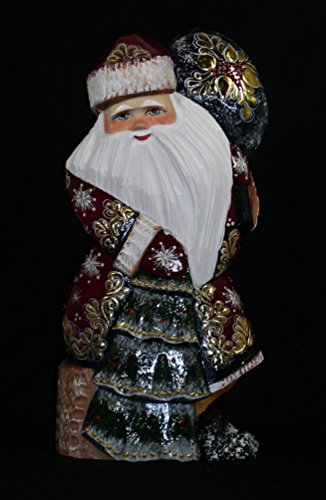 RussianOrnaments RUSSIAN WOODEN SANTA HAND CARVED/PAINTED Sitting on a Stamp w/Chr Tree & Bag #1022-17 - Delivery Santa Christmas Tree Ornament