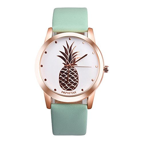- Wenjuan Pineapple Faux Leather Analog Quartz Watch Monitor Wrist for Womens Men (Green)