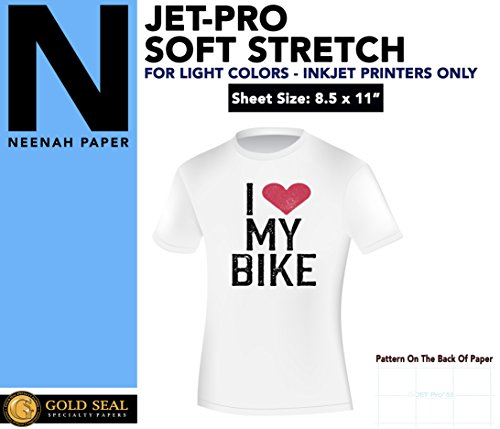 IRON ON HEAT TRANSFER PAPER JET-PRO SS SOFSTRETCH 8.5 X 11'' CUSTOM PACK 500 SHEETS by Neenah