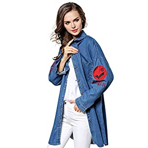 Womens Oversize Embroidered Denim Jackets Button Down Jean Coat ONESIZE(US S-XL)