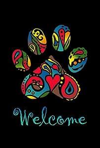 """Toland Home Garden Wacky Bienvenido patas decorativa 28x 40""""Negro Cachorro Perro Gato Mascota rescate casa bandera, S-12.5 x 18"""""""
