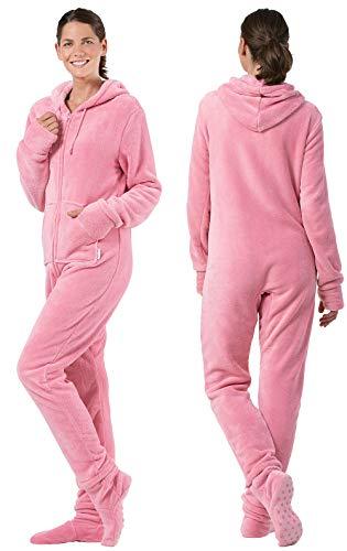 PajamaGram Womens Onesie with Hood - Adult Footie Pajamas ... 14a0eb8b1