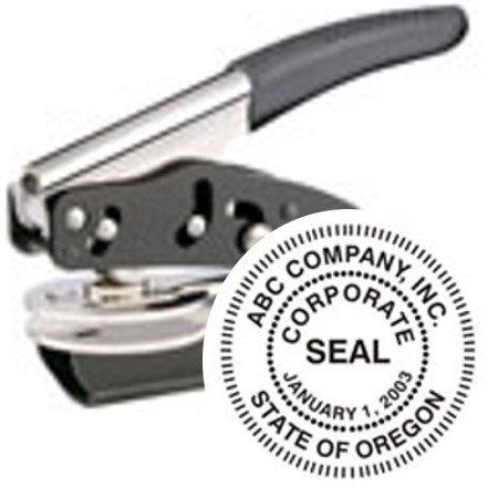 (CUSTOM CORPORATE EMBOSSER (SEAL) // POCKET SEAL // SEAL DESIGN FEATURES A STANDARD BORDER // EMBOSSER)