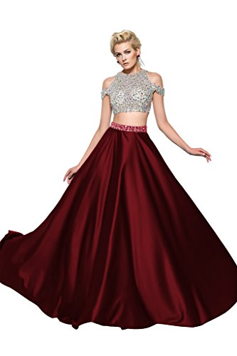 CLOCOLOR Women's Beaded Two Piece Long Prom Dress with Sleeves Size US8 Burgundy