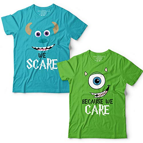 (We Scare Because We Care Monsters School Face Characters Bestie BFF Mr/Mrs Couple Group Matching Customized Handmade T-Shirt Hoodie/Long Sleeve/Tank)