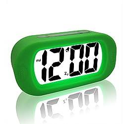 eBoTrade Digital Alarm Clock, Silicone Protective Large Screen Digital LCD Desk Travel Alarm Clock with Snooze Light Green