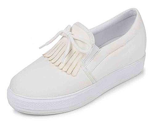 Sfnld Womens Casual Bowknot Tassel Low Cut Slip On Platform Hidden Heel Sneakers Canvas Shoes White