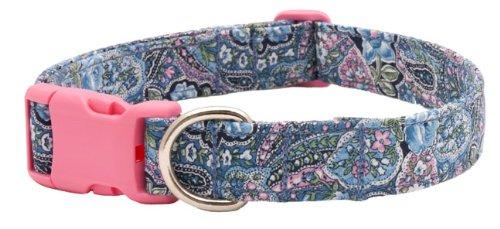 Blue Paisley with Pink Buckle Designer Dog Collar-MEDIUM, My Pet Supplies