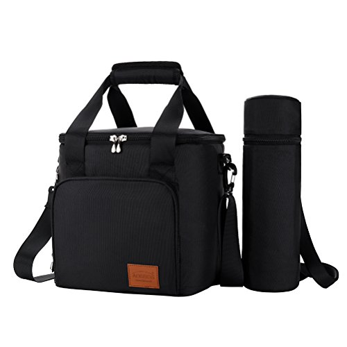 Aosbos Lunch Bag Lunch Box for Adults Men, Insulated Thermal Bento Bag for Work, Adjustable Strap and Wine Bottle Holder, 15L, Black