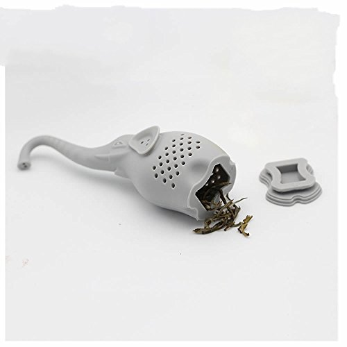 GOOTRADES Silicone Elephant Shaped Mug Cup Loose Leaf Herb Spice Filter Tea Infuser (Grey) (Leaf Elephant)
