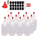 Belinlen 12 Pack 4-Ounce Plastic Squeeze Bottles with Red Tip Caps and Measurement - Good for Crafts, Art, Glue, Multi Purpose Set of 12 with Extra 18 Chalk Labels 6 Red Cap and 1 Pen