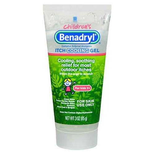 Benadryl Anti-Itch Cooling Gel for Kids, Topical Camphor Gel to Relief Pain & Itching of Most Outdoor Itches, Diphenhydramine Free, Travel Size, 3 oz (Pack of 3)