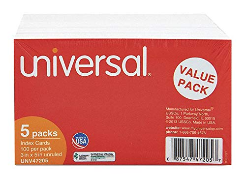 3'' x 5'' Index Cards, Unruled - pack of 5