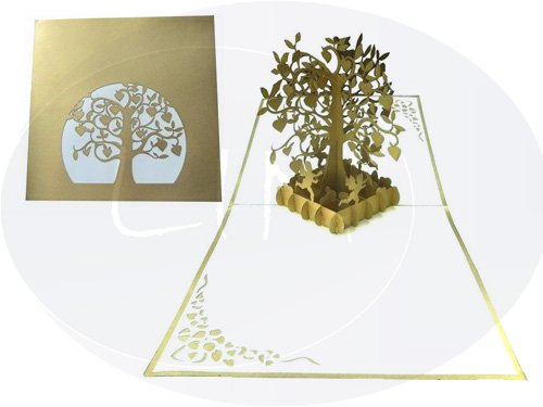 - LIN Pop Up 3D Greeting Card for a Golden Wedding Anniversary, Golden Heart Tree, large card (6 x 6 inches), (#85)