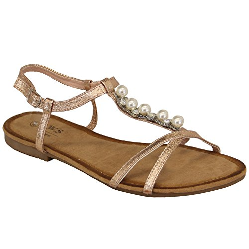 Sling Champagne Ls3 Fringe Womens Toe Shoe Flat On Diamante Sandali Donna Post Slip Back Open 48qAq