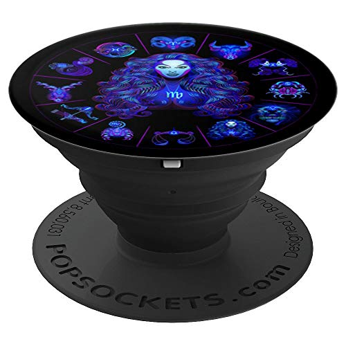 August, September Virgo Zodiac Sign Horoscope Glyph - PopSockets Grip and Stand for Phones and Tablets