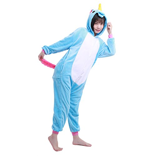 YiZYiF Kids Unicorn Cosplay Pajamas Animal One Piece Jumpsuit Costume Christmas Carnival Warm Sleepwear Blue 10-12