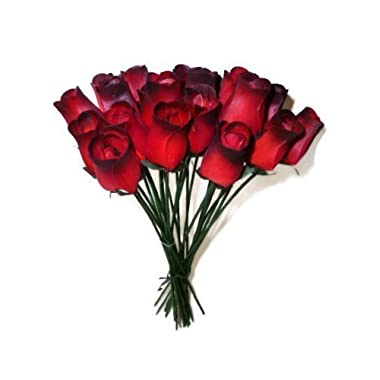 24 Realistic Wooden Red Roses with Black Tips by Aariel's Attic