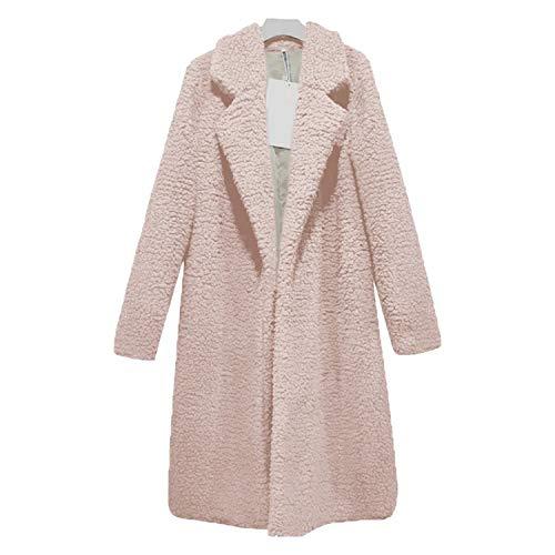 Women Long Faux Fur Jackets Lapel Teddy Bear Cardigan Lamb Wool Outwear Plus Size,Pink,XXL