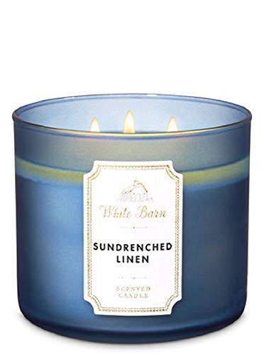 White Barn Bath & Body Works 3-Wick Scented Candle in SUNDRENCHED Linen