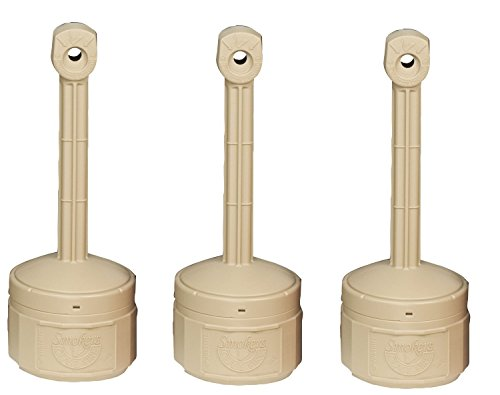 Justrite 26806B Personal Smokers Cease Fire Polyethylene Cigarette Butt Receptacle OGKTKK, 1 Gallon Capacity, 11'' OD x 30'' Height, Adobe Beige, Pack of 3 by Justrite