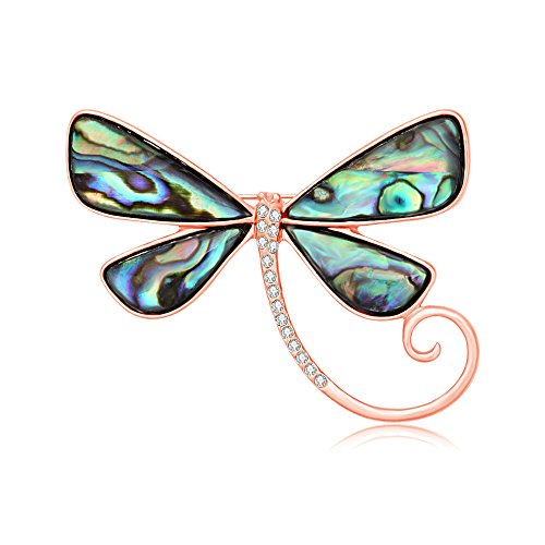 SenFai Dragonfly Abalone Shell Brooch Suit Lapel Pin Eyeglass Holder Wearable Art (Rose Gold)