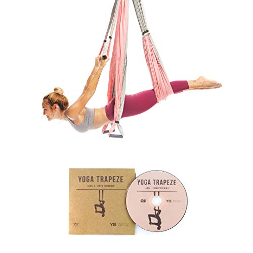 YOGABODY Yoga Trapeze [Official] - Yoga Swing/Sling/Inversion Tool, Baby Pink with Free - Trapeze Pink