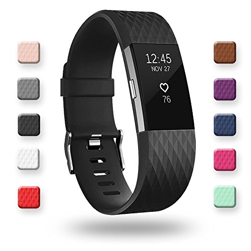 - POY Replacement Bands Compatible for Fitbit Charge 2, Special Edition Adjustable Sport Wristbands, Large Black