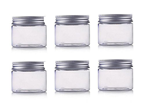 echo-ove 6 Pcs 250ml / 8Oz Jars PET Cosmetic Containers Empty Makeup Cases Holders with Silver Aluminum Screw Cap Lid Prefect for Lip Balm Eye Shadow Powder Cosmetics and Face Cream Lotion