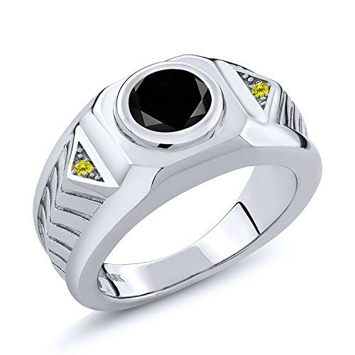 2.23 Ct Round Black Diamond Canary Diamond 925 Sterling Silver Men's Ring - Canary Bezel