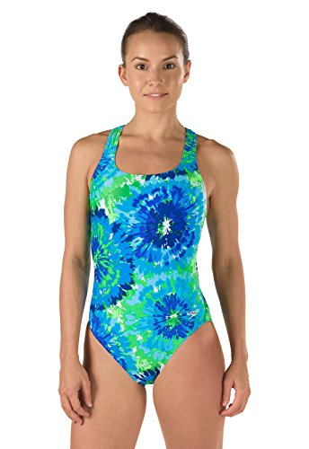 Womens Speedo Swimming Costumes (Speedo 7719639 Womens Burst Drop Back Powerflex Eco One Piece Swimsuit, Blue/Green (421 - 403) - 30)