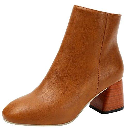 Binying Women's Round-Toe Block Heel Zip Chukka Boots Brown Y9rzkk8GI