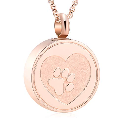 Lab Dog Pendant - Hearbeingt Dog Paw Keepsake Necklaces Cat Memorial Pendant, Stainless Steel Cremation Jewelry for Ashes for Pet (Rose Gold)