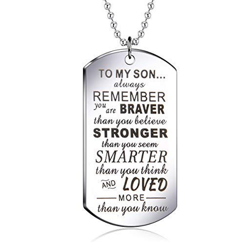 danjie to My Son Tag Stainless Steel Pendant Always Remember You are Braver Than You Believe Letters Boys Necklace Military Chain Air Force Pendant (Nkc017)