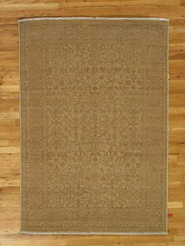 4 x 6 Olive Tone New Transitional Oushak Green Wool Hand-Knotted Rug (Oushak Green)
