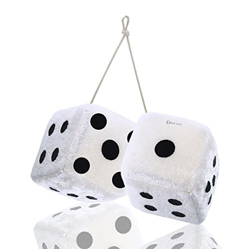 Zento Deals Pair of Hanging White with Black Dots Fuzzy Dices Nostalgic Retro (Disney Rear View Mirror Ornament)