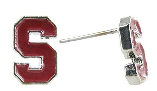 Officially Licensed Stanford University Mini Red Enamel S Logo Post - 1 Red Disc Enamel