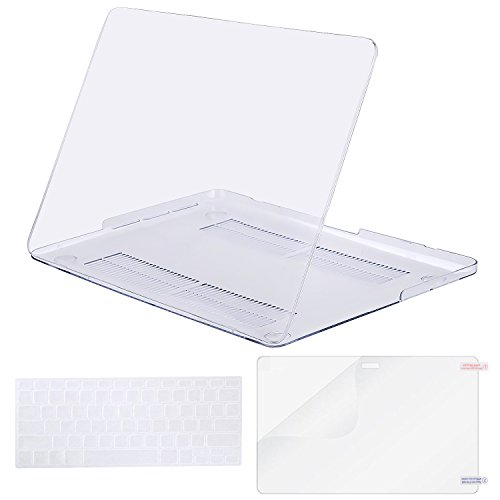 MOSISO Case Only Compatible MacBook Pro (W/O USB-C) Retina 13 Inch (A1502/A1425)(W/O CD-ROM) Release 2015/2014/2013/end 2012 Plastic Hard Shell & Keyboard Cover & Screen Protector, Crystal Clear