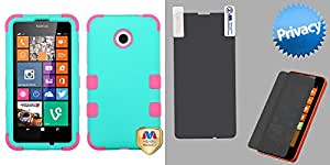 Combo pack MYBAT Rubberized Teal Green/Electric Pink TUFF Hybrid Phone Protector Cover for NOKIA Lumia 635 NOKIA 630 (Lumia 630) And MYBAT Privacy Screen Protector for NOKIA Lumia 635 NOKIA 630 (Lumia 630)